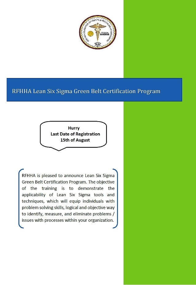 Green Belt Certification Program In Lean Six Sigma