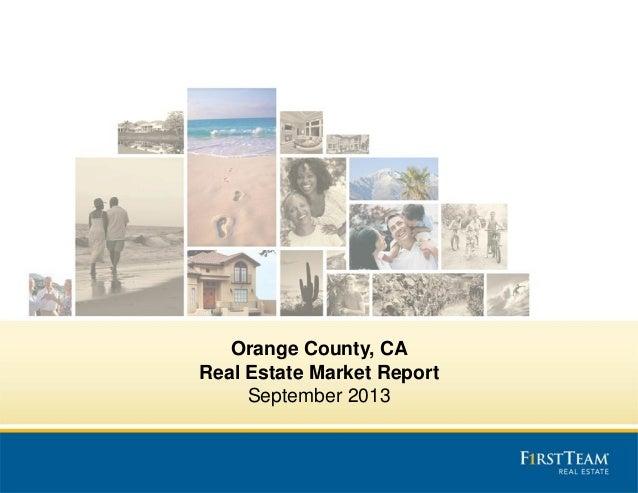 Orange County, CA Real Estate Market Report September 2013