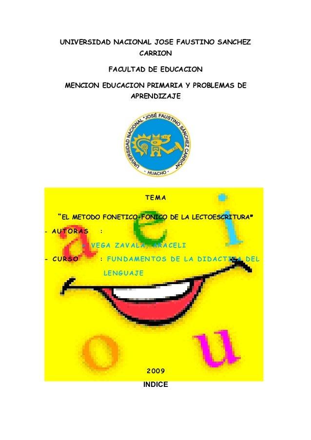 UNIVERSIDAD NACIONAL JOSE FAUSTINO SANCHEZ CARRION FACULTAD DE EDUCACION MENCION EDUCACION PRIMARIA Y PROBLEMAS DE APRENDI...