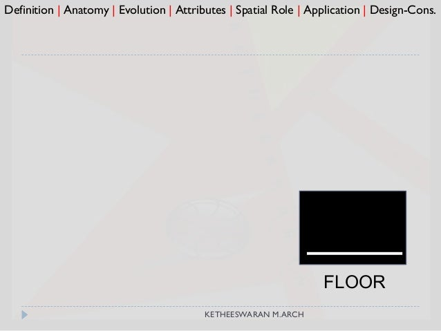 FLOOR Definition   Anatomy   Evolution   Attributes   Spatial Role   Application   Design-Cons. KETHEESWARAN M.ARCH