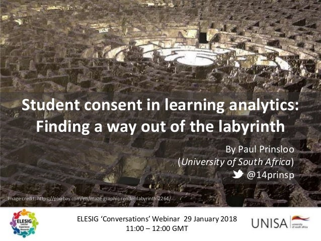 ELESIG 'Conversations' Webinar 29 January 2018 11:00 – 12:00 GMT Student consent in learning analytics: Finding a way out ...