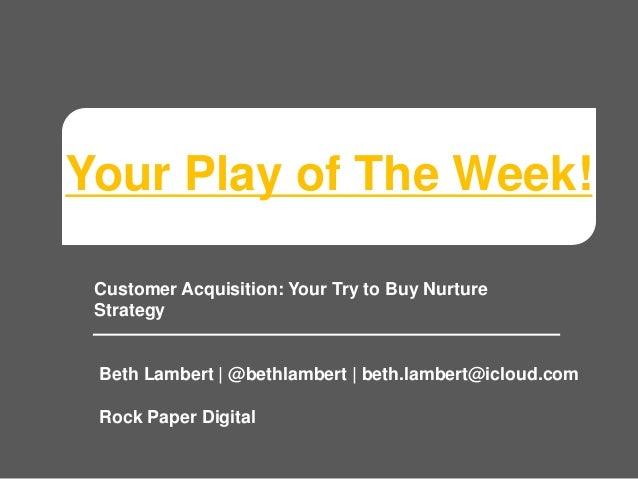 Your Play of The Week! Customer Acquisition: Your Try to Buy Nurture Strategy Beth Lambert | @bethlambert | beth.lambert@i...