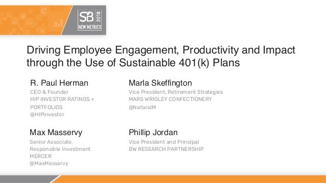 Driving Employee Engagement, Productivity and Impact through the Use of Sustainable 401(k) Plans R. Paul Herman CEO & Foun...