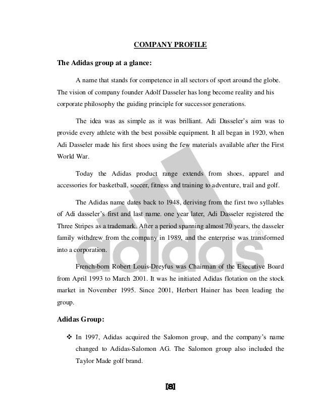 final entries  7 8 company profilethe adidas