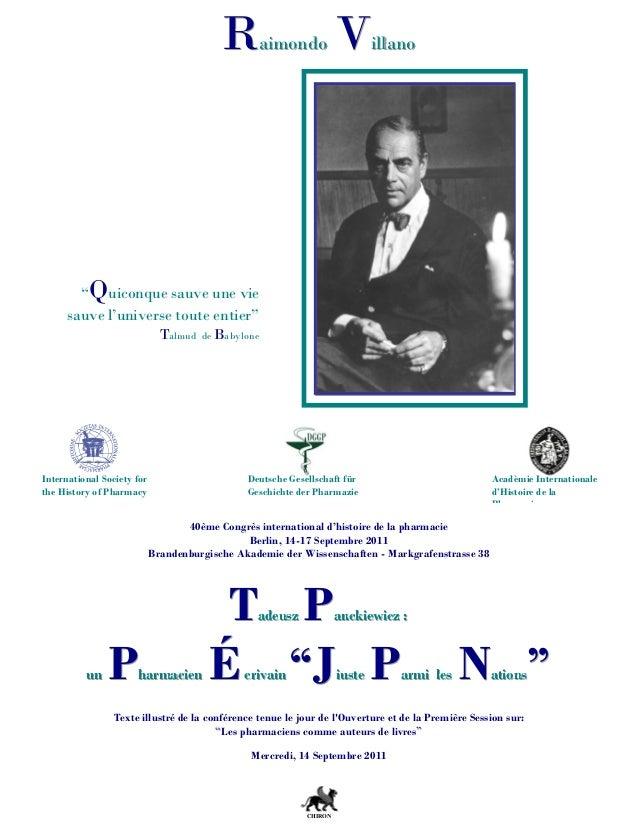 40ème Congrès international d'histoire de la pharmacie Berlin, 14-17 Septembre 2011 Brandenburgische Akademie der Wissensc...