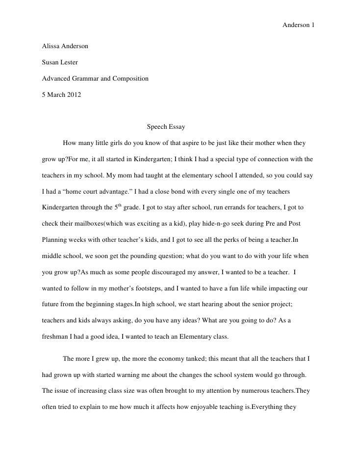 Anderson 1Alissa AndersonSusan LesterAdvanced Grammar and Composition5 March 2012                                       Sp...