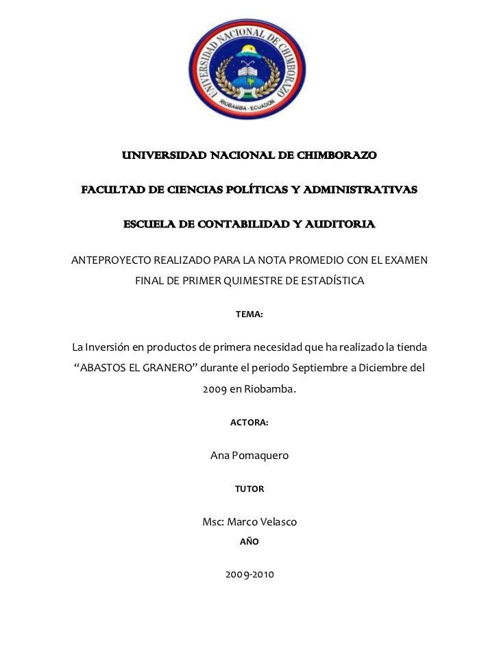 1838325-234315<br />UNIVERSIDAD NACIONAL DE CHIMBORAZO<br />FACULTAD DE CIENCIAS POLÍTICAS Y ADMINISTRATIVAS<br />ESCUELA ...