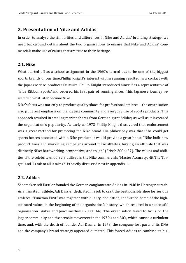 nike vs adidas comparison essay Advertising strategy of adidas:  adidas market share comparison of the 1990s as one time occasion  nike vs adidas uploaded by.