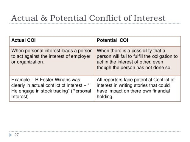 what is conflict of interest A conflict of interest exists when professional judgment concerning a primary interest (such as patients' welfare or the validity of research) may be influenced by a.