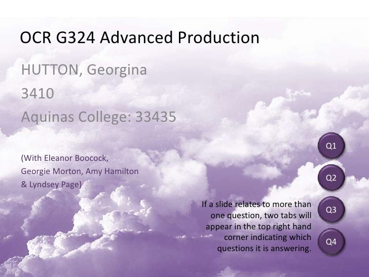 OCR G324 Advanced Production <br />HUTTON, Georgina<br />3410<br />Aquinas College: 33435<br />(With Eleanor Boocock, <br ...