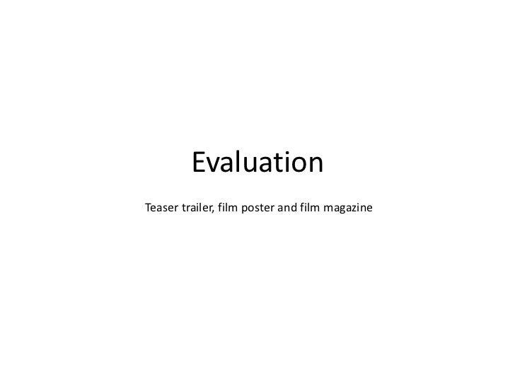 EvaluationTeaser trailer, film poster and film magazine