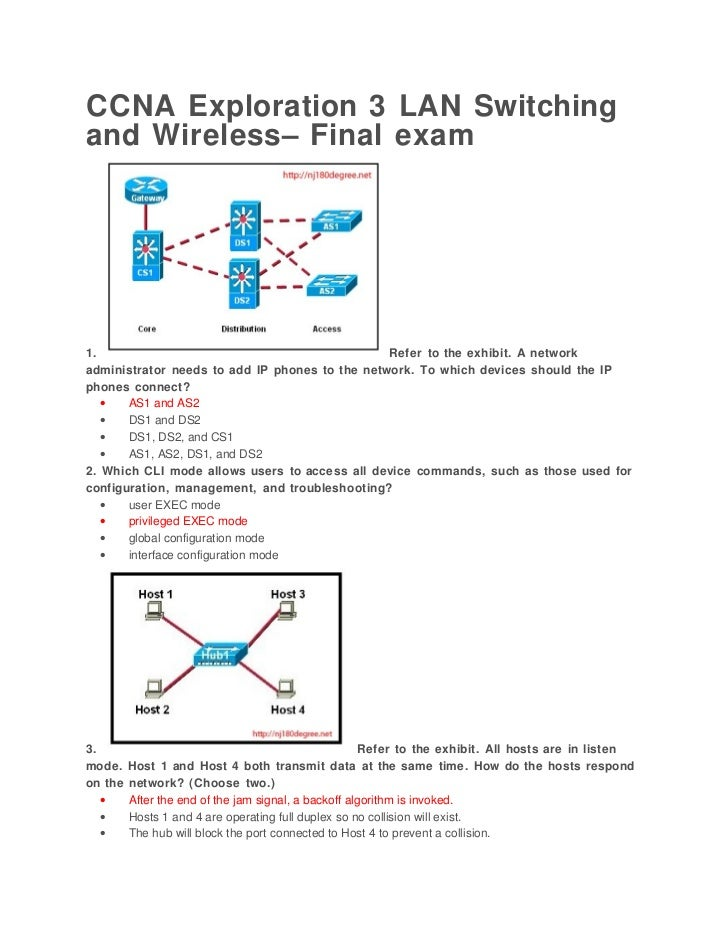 CCNA Exploration 3 LAN Switchingand Wireless– Final exam1.                                              Refer to the exhib...