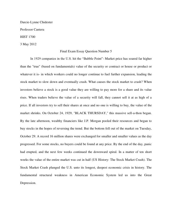 final exam essay question  darcie lynne chidesterprofessor canterahist 17003 2012 final