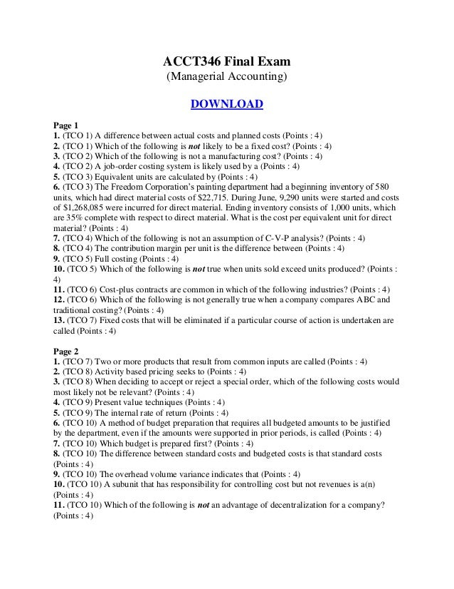 managerial accounting exam 1 solutions