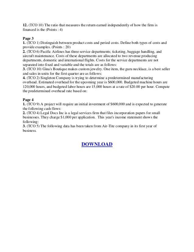 ACCT 346 (Managerial Accounting) Final Exam LATEST