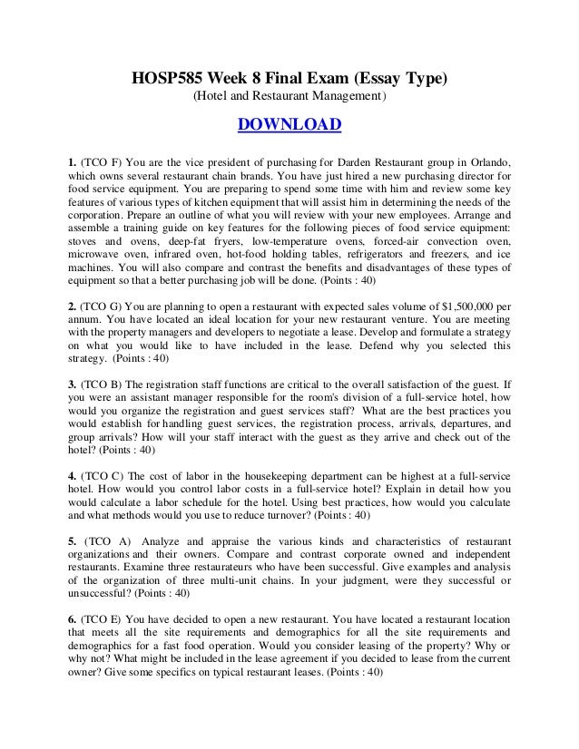hotel management essay