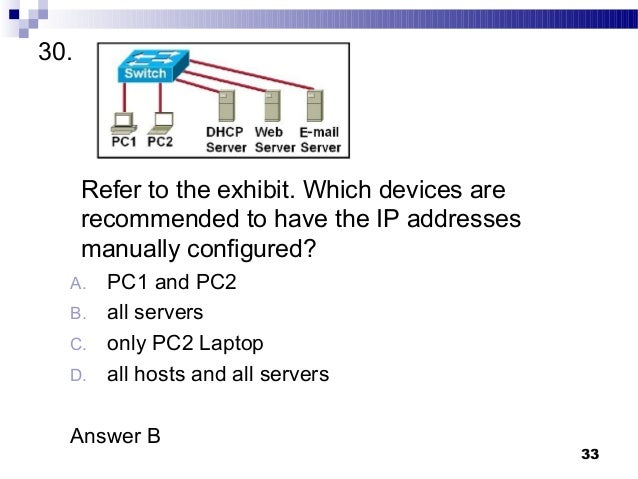 ip networking final review You have a private or public network with servers and workstations that are assigned static and dynamic ip addresses (either private or public ips) you assigned them the static ip addresses due to nat (network address translation) or for public access, and dynamic ip addresses via the dhcp even if.
