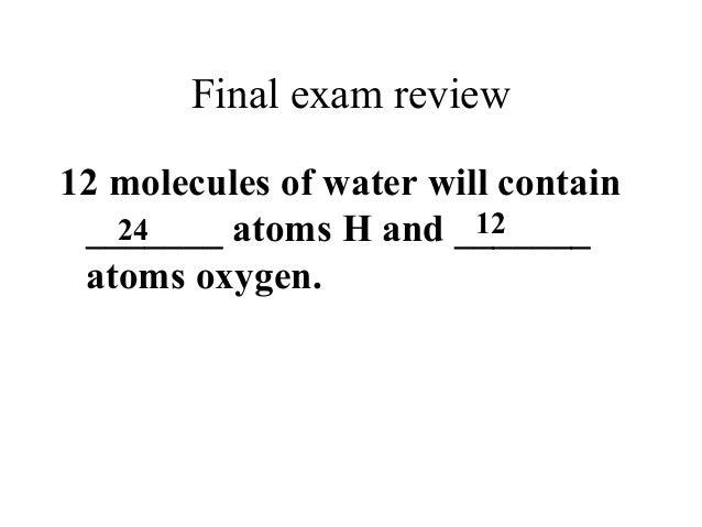 Final exam semester one review