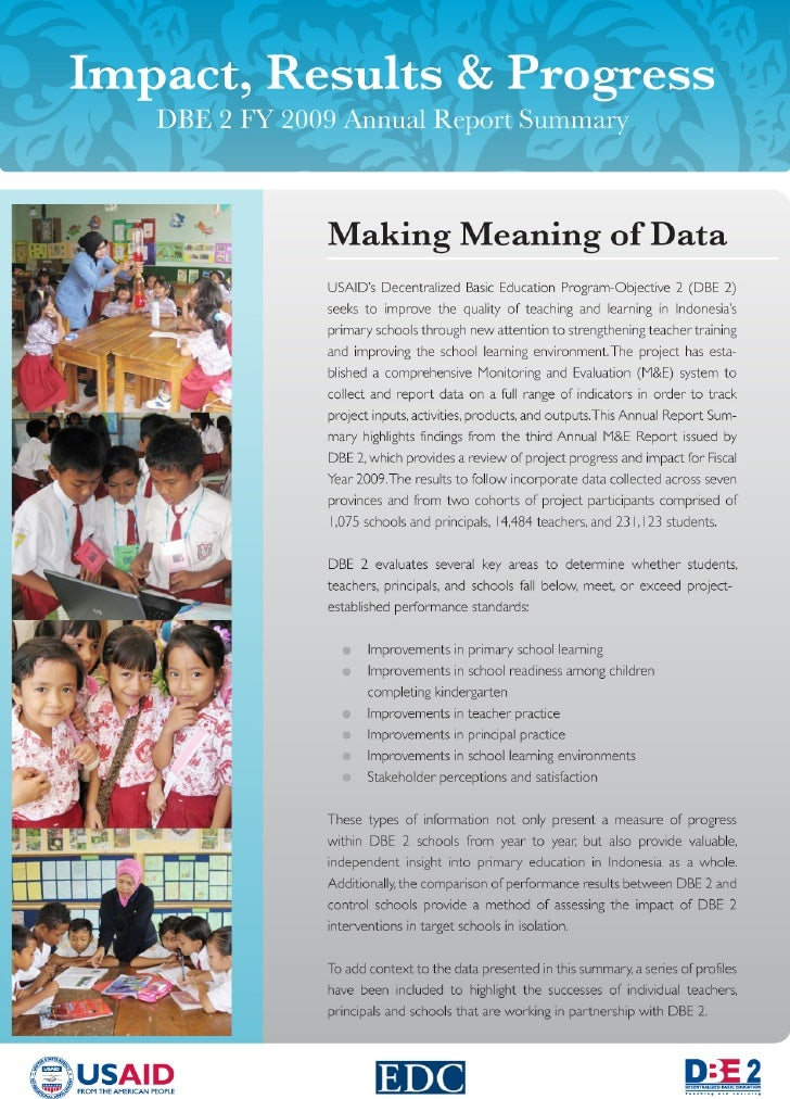 FY 2009 Annual Report Summary                  Student Learning Outcomes Analysis & Findings General Findings from DBE 2 &...