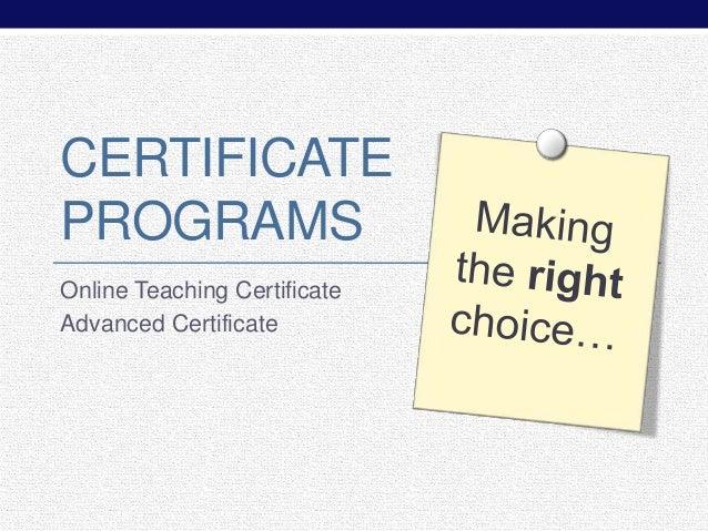 2014 Sloan-C Certificate Programs