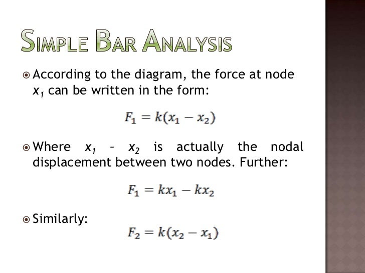 Simple Bar Analysis<br />According to the diagram, the force at node x1 can be written in the form:<br />Where x1 – x2is a...