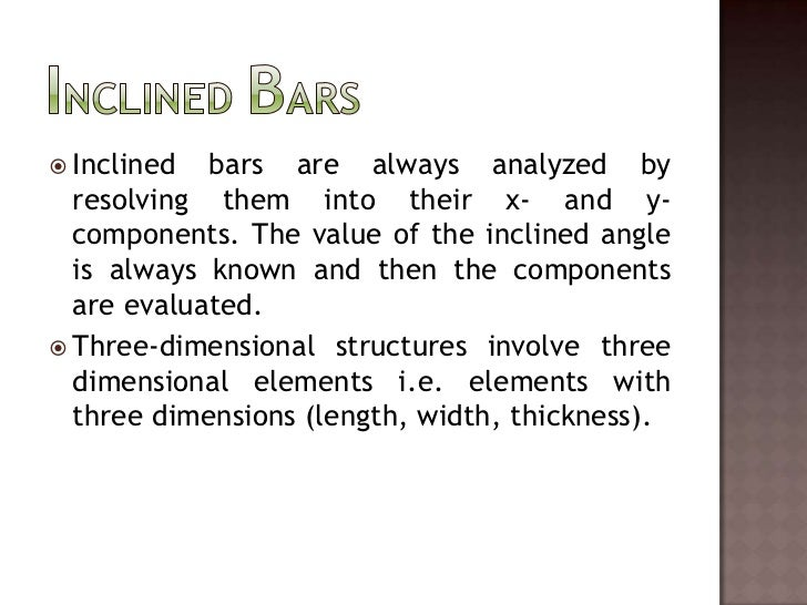 Inclined Bars<br />Inclined bars are always analyzed by resolving them into their x- and y-components. The value of the in...