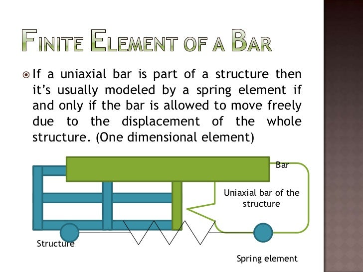 Finite Element of a Bar<br />If a uniaxial bar is part of a structure then it's usually modeled by a spring element if and...