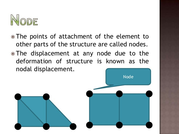 Node<br />The points of attachment of the element to other parts of the structure are called nodes.<br />The displacement ...