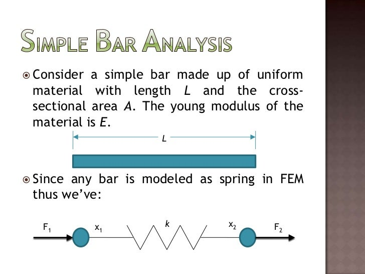 Simple Bar Analysis<br />Consider a simple bar made up of uniform material with length L and the cross-sectional area A. T...