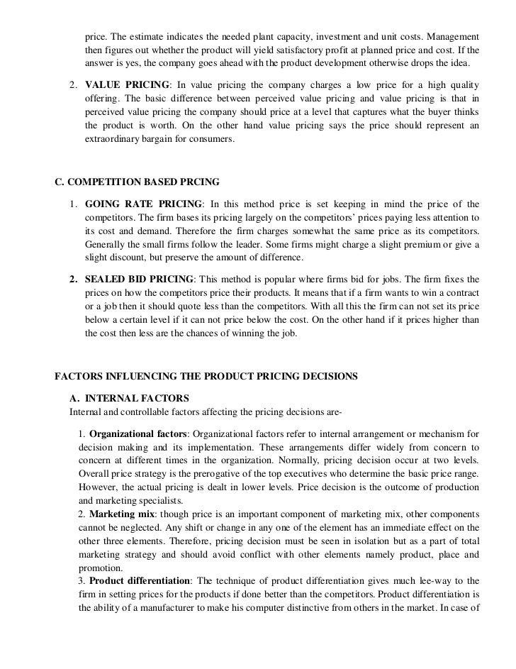 factors affecting pricing decisions pdf
