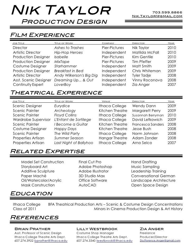 film production resume template Success