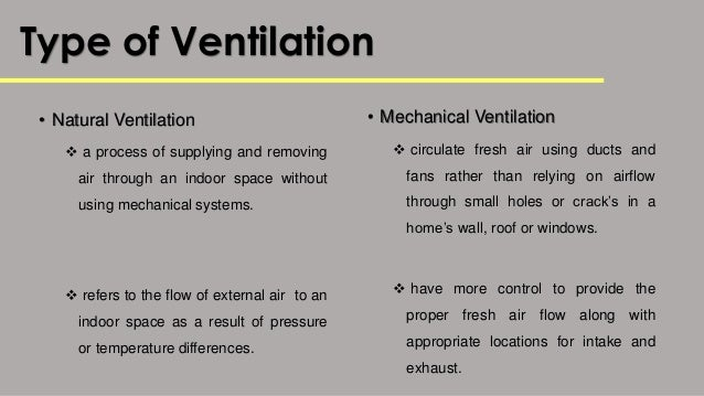 Types Of Ventilation Systems : Building services