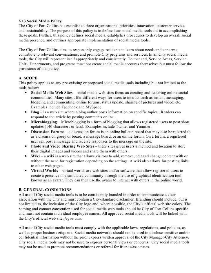 City of Fort Collins Administrative Policy re: Social Media