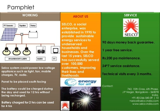 Selco Solar Products Marketing