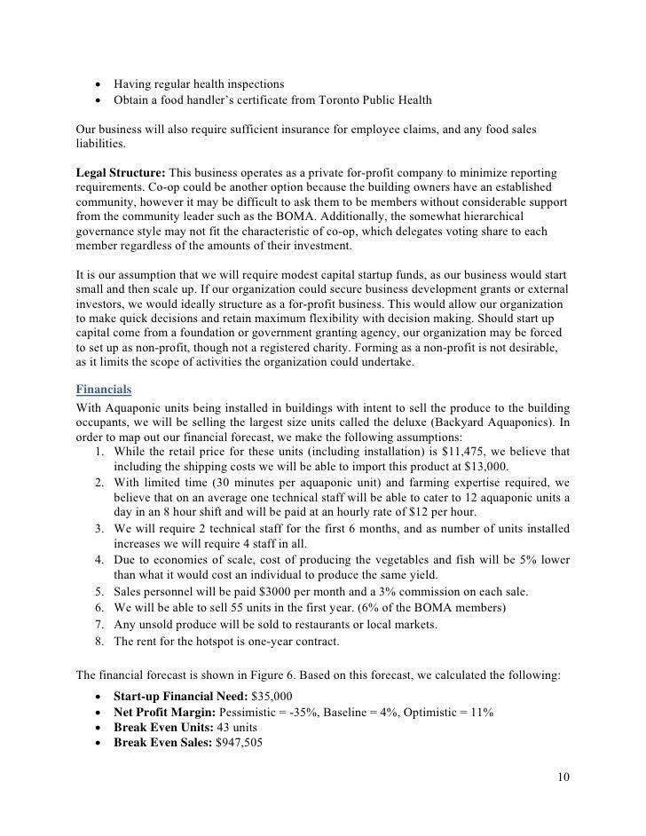 MBA Urban Farming Sample Business Plan