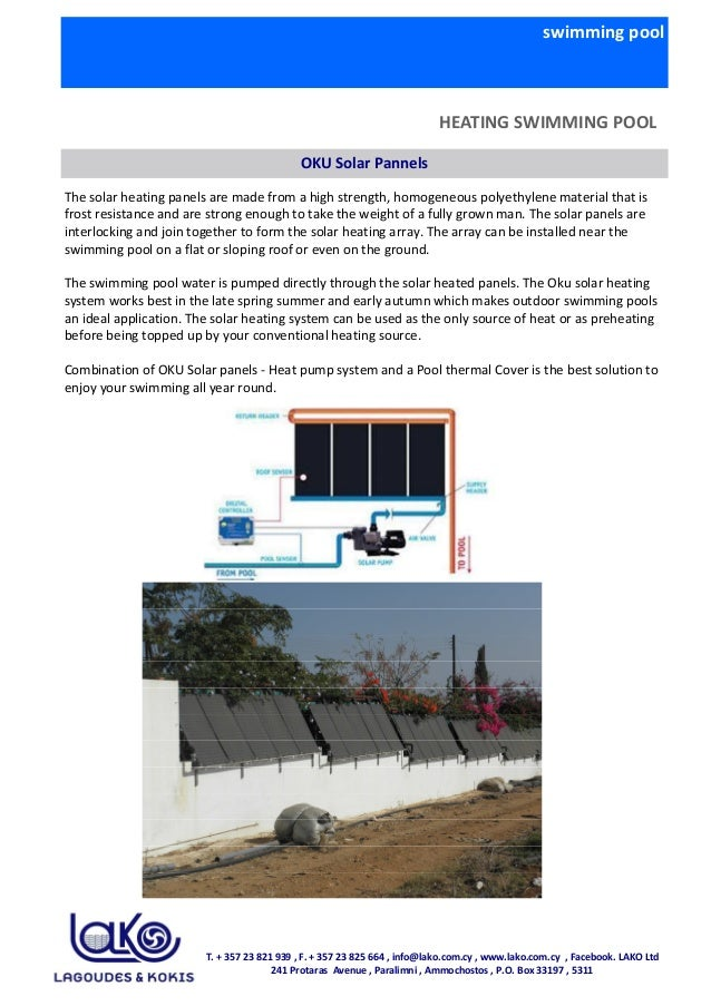 swimming pool HEATING SWIMMING POOL OKU Solar Pannels The solar heating panels are made from a high strength, homogeneous ...