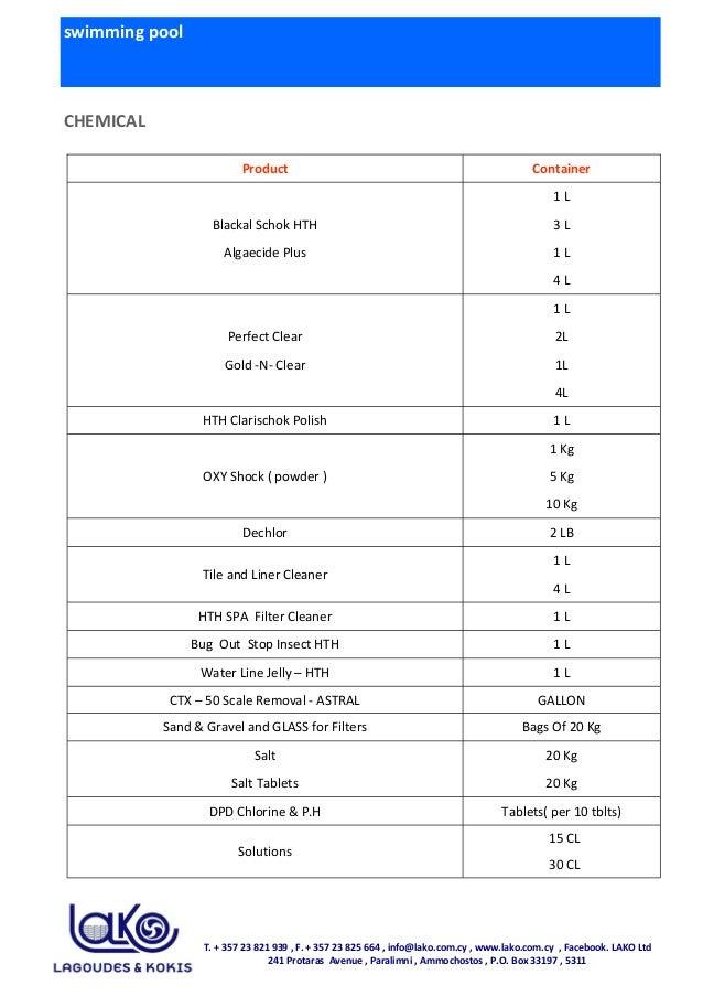 swimming pool CHEMICAL Product Container 1 L Blackal Schok HTH 3 L Algaecide Plus 1 L 4 L 1 L Perfect Clear 2L Gold -N- Cl...