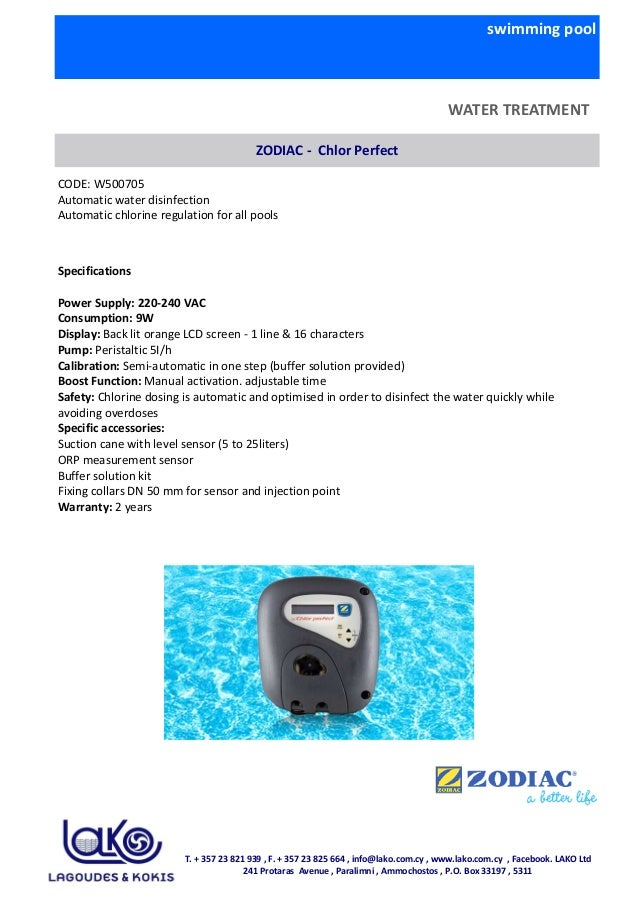 swimming pool WATER TREATMENT ZODIAC - Chlor Perfect CODE: W500705 Automatic water disinfection Automatic chlorine regulat...