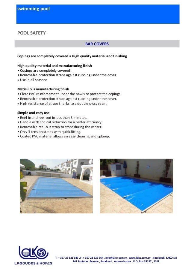 swimming pool POOL SAFETY Copings are completely covered • High quality material and finishing High quality material and m...