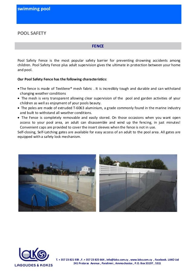swimming pool POOL SAFETY Pool Safety Fence is the most popular safety barrier for preventing drowning accidents among chi...