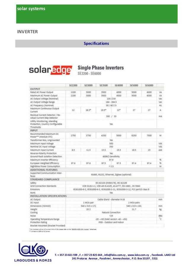 solar systems T. + 357 23 821 939 , F. + 357 23 825 664 , info@lako.com.cy , www.lako.com.cy , Facebook. LAKO Ltd 241 Prot...