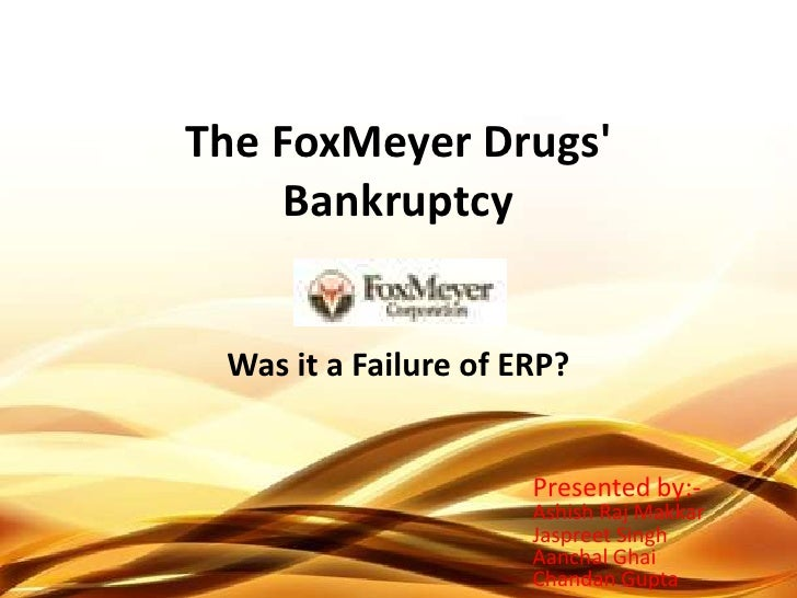 the foxmeyer drugs erp implementation How often will a botched erp implementation be used as a bankruptcy excuse every now and then you come across a story about an erp project implementation being cited as the reason a company.