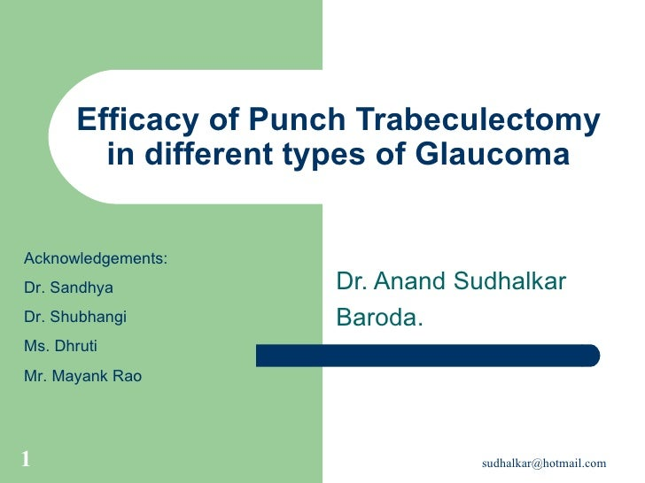 Efficacy of Punch Trabeculectomy in different types of Glaucoma Dr. Anand Sudhalkar Baroda. Acknowledgements: Dr. Sandhya ...