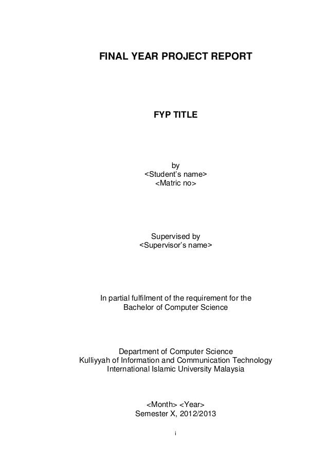 Final Fyp Report Template