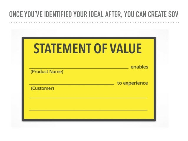 ONCE YOU'VE IDENTIFIED YOUR IDEAL AFTER, YOU CAN CREATE SOV