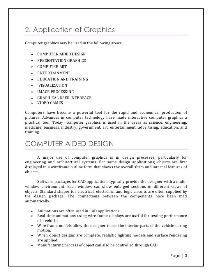 application areas of computer graphics