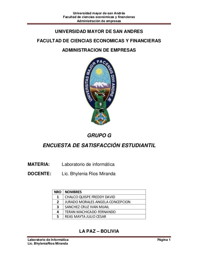 Universidad mayor de san Andrés                      Facultad de ciencias económicas y financieras                        ...