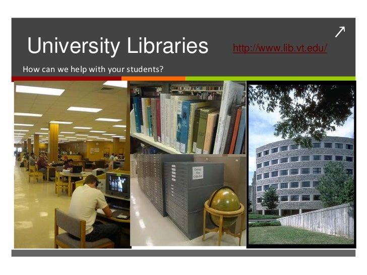 ↗University Libraries                  http://www.lib.vt.edu/How can we help with your students?