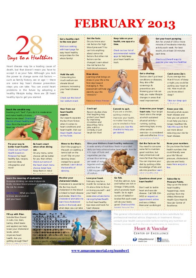 Umass Memorial Medical Center Heart Health Calendar
