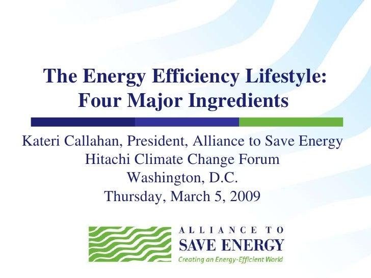 The Energy Efficiency Lifestyle: Four Major Ingredients